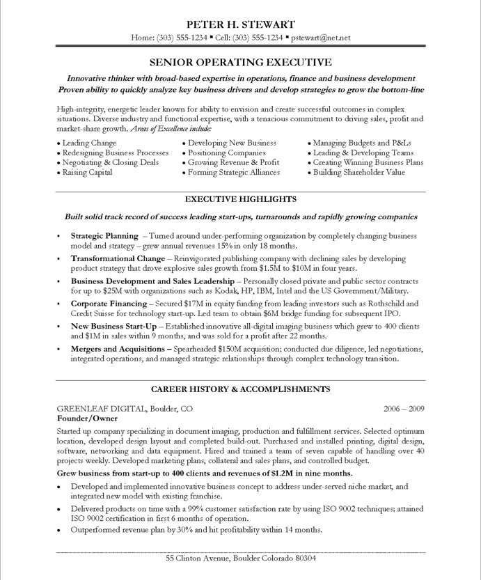 ceo resume sample - Coo Resume