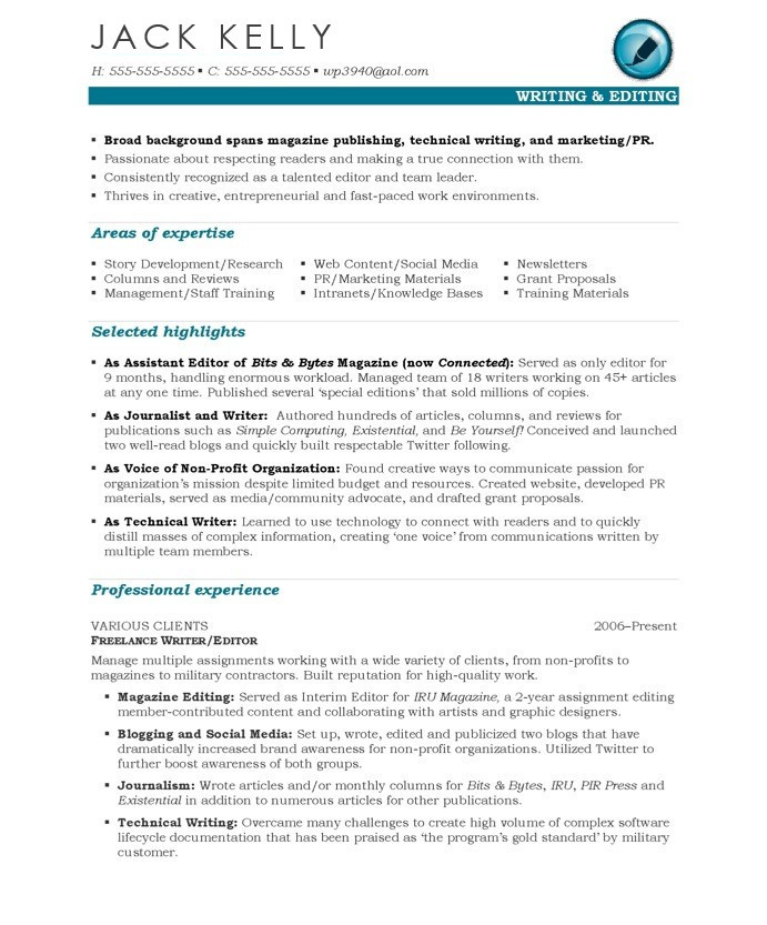 editor resume sample - Writing Resume Samples