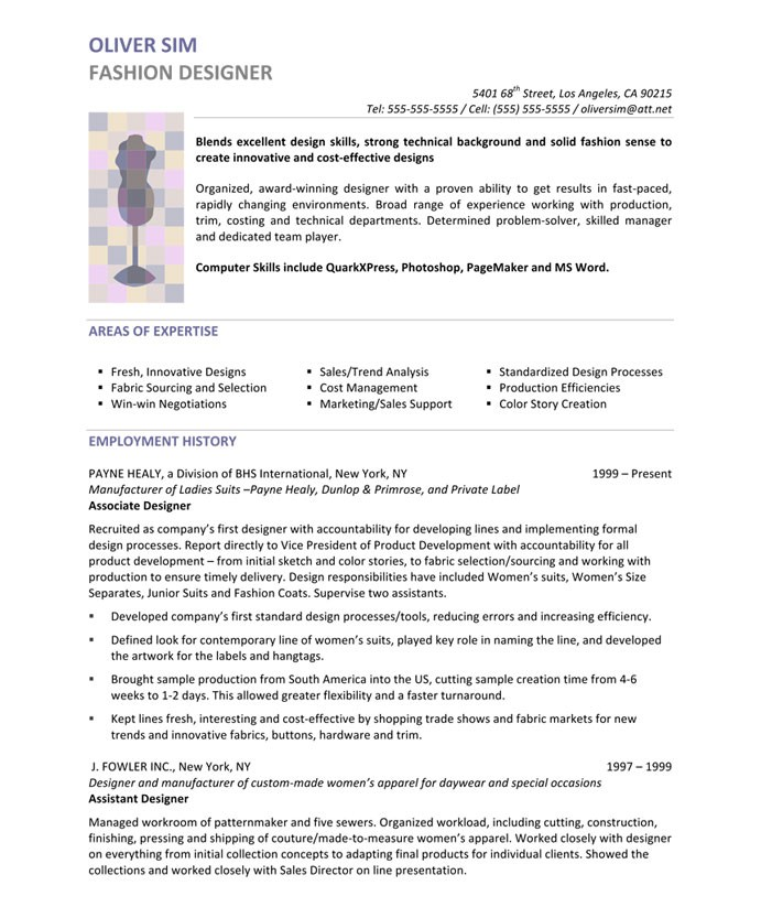 fashion designer resume sle