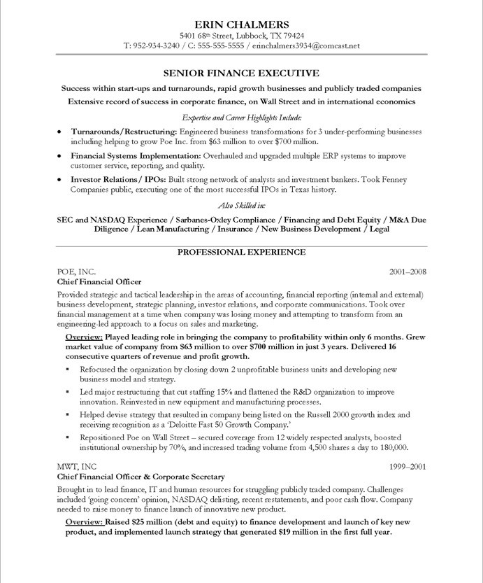 finance executive resume sample sample financial resume