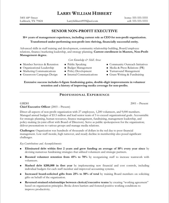 Non Profit Executive Resume Sample