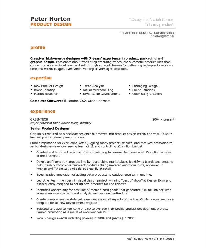 product designer resume sle
