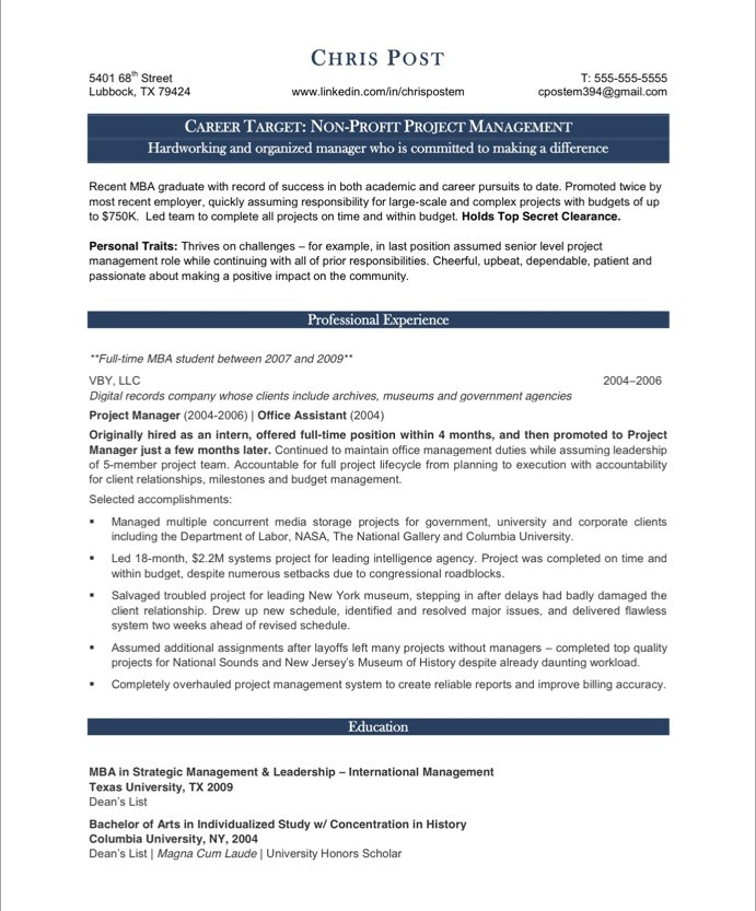 it project manager resume sample project manager resume sample 1 - Free Resume Sample