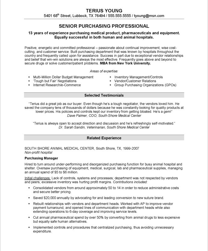 purchasing manager resume sample 1 - Manager Resume Samples Free