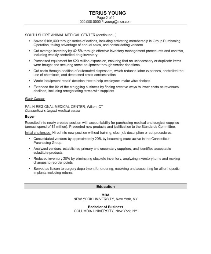 purchasing manager resume sle