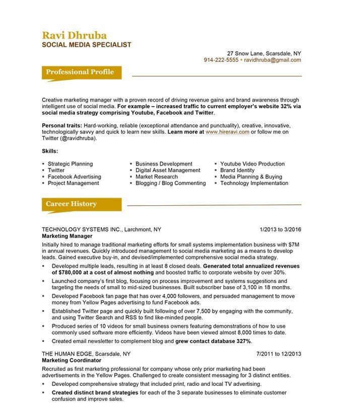 social media specialist resume sample - Online Advertising Specialist