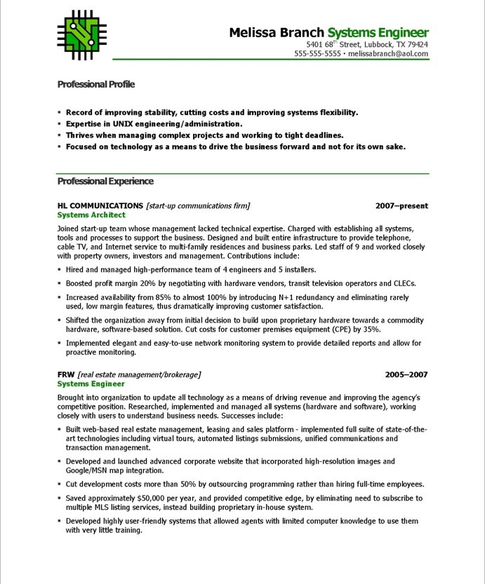 Systems Engineer Resume Sample – Sample Resume for Engineers