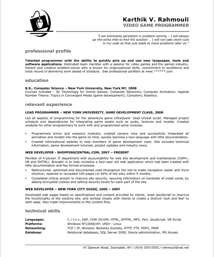 game programmer resume sample