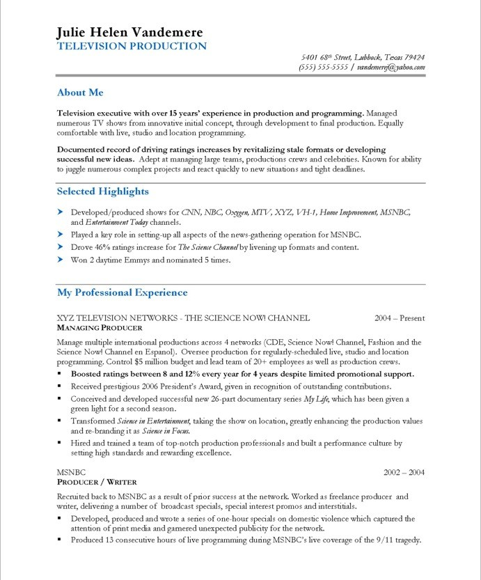 tv executive producer resume sle