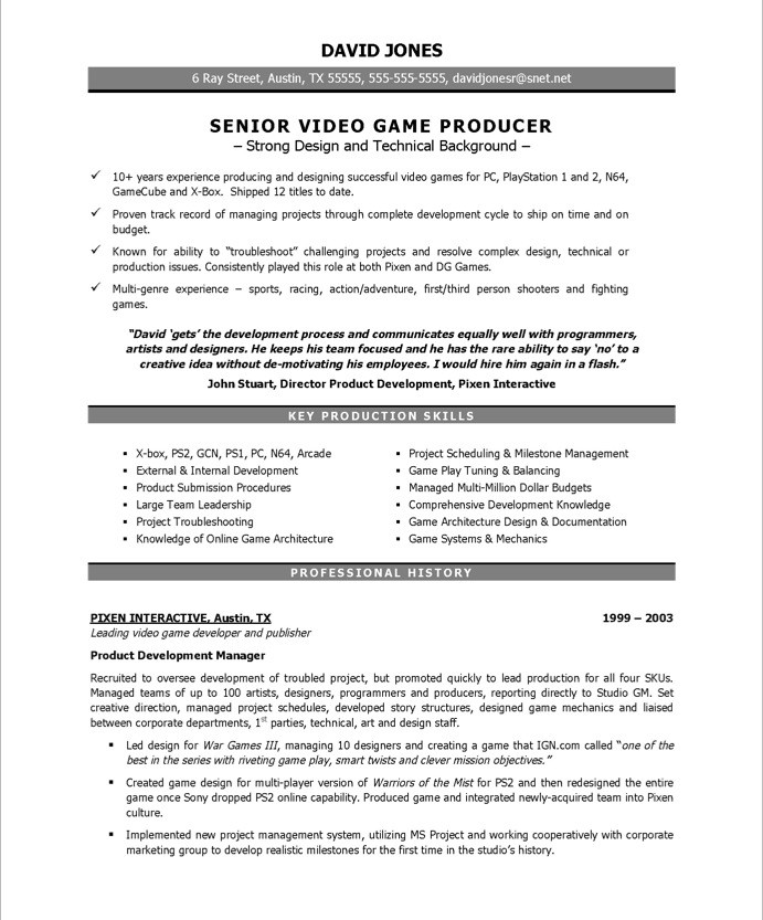 senior video game producer resume sample