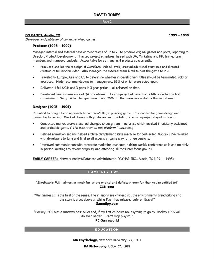 game designer resume