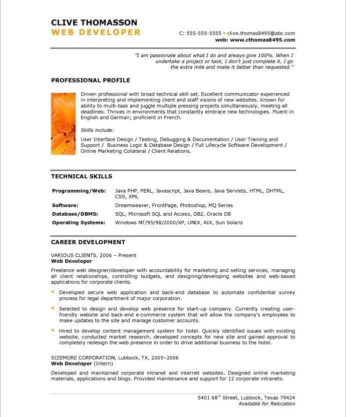 senior web developer resume sle