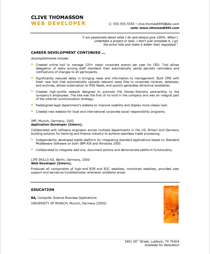web development specialist resume sle