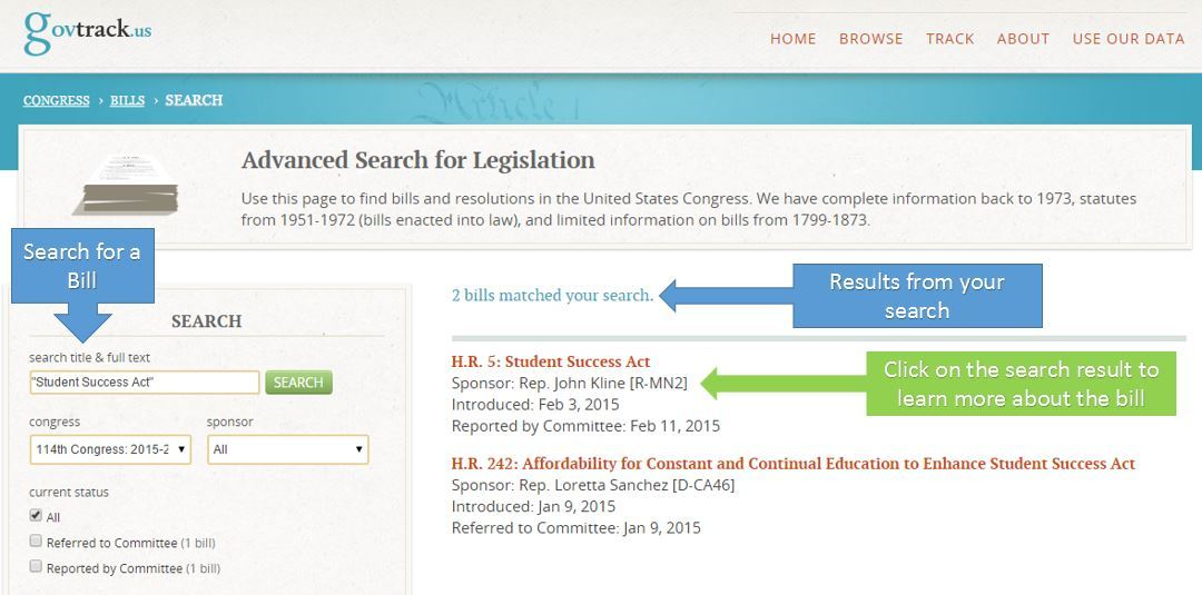 Gov Track Bill Search